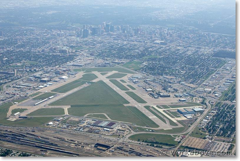 Aerial photo of hazy Edmonton city centre